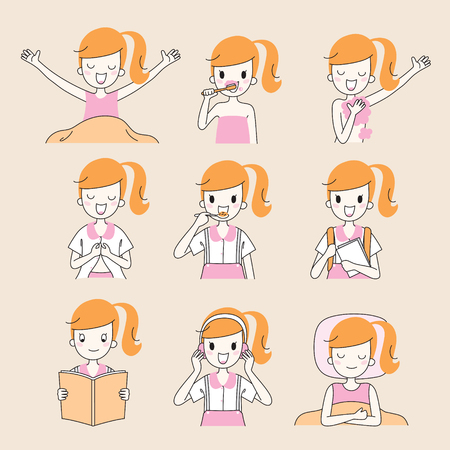 The Daily Routines Of Girl, Outline, People, Activities, Habit, Lifestyle, Leisure, Hobby, Avocation