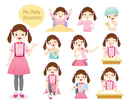 Le routine quotidiane di ragazza, persone, attività, abitudine, stile di vita, tempo libero, hobby, vocazione Vettoriali