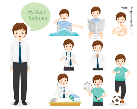 The Daily Routines Of Man, People, Activities, Habit, Lifestyle, Leisure, Hobby, Avocation