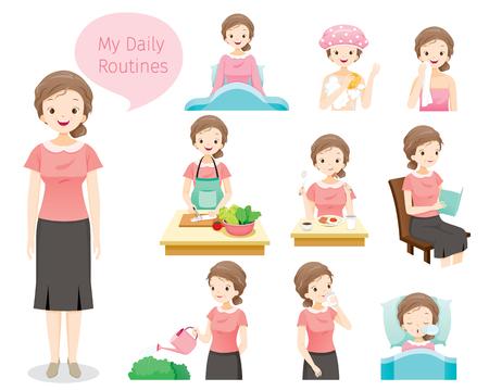 Die täglichen Routinen von alten Frauen, Menschen, Aktivitäten, Gewohnheiten, Lebensstilen, Freizeit, Hobby und Beruf Vektorgrafik