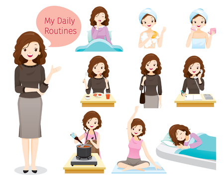 The daily routines of woman, people, activities, habit, lifestyle, leisure, hobby, avocation Standard-Bild - 97849183