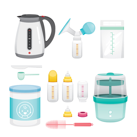 Icons Set Of Equipment For Feeding Baby, Mother's day, Suckling, Infant, Motherhood, Innocence