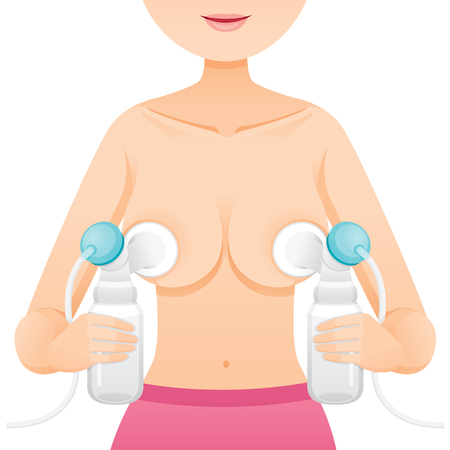 Mother Pumping Her Left And Right Breast With Automatic Breast Pump, Mother's day, Suckling, Infant, Motherhood, Innocence