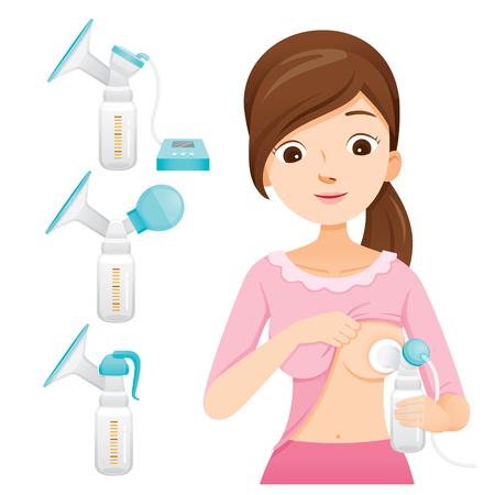 Madre bombeando su pecho con extractor automático de leche. Conjunto de extractor de leche, día de la madre, lactancia, lactante, maternidad, inocencia