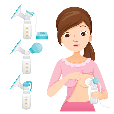 Mother Pumping Her Breast With Automatic Breast Pump. Breast Pump Set, Mother's day, Suckling, Infant, Motherhood, Innocence 일러스트