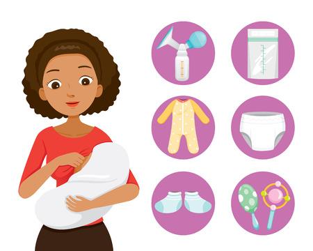 Dark Skin Mother Breastfeeding And Hugging Baby. Baby Icons Set, Mother's day, Suckling, Infant, Motherhood, Innocence