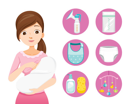 Madre amamantando y abrazando al bebé. Conjunto de iconos de bebé, día de la madre, lactancia, lactante, maternidad, inocencia Ilustración de vector