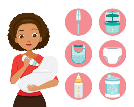 Dark Skin Mother Feeding Baby With Milk In Baby Bottle. Baby Icons Set, Mother's day, Suckling, Infant, Motherhood, Innocence Illustration
