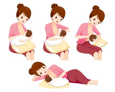 Methoden und Position für das Stillen der Mutter Babysicherheit, Muttertag, Saugen, Säugling, Mutterschaft, Unschuld Vektorgrafik