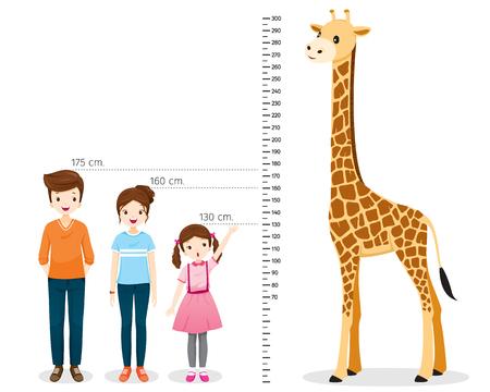 Mężczyzna, kobieta, dziewczyna pomiar wysokości z żyrafą, wysoki, zdrowy, opieka, ludzie, styl życia