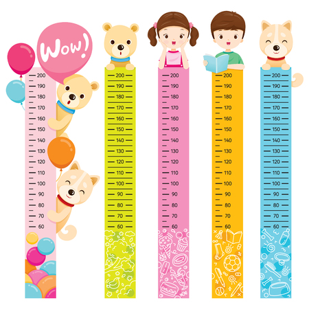 Measured Height Set With Girl, Boy, Dog And Bear, Tall, Healthy, Care, People, Lifestyle