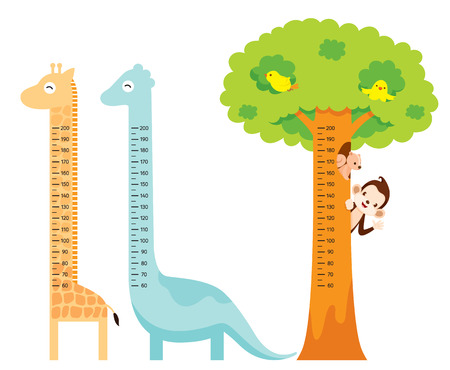 Measured Height Set With Giraffe, Dinosaur, Bird, Monkey, Squirrel, And Tree, Tall, Healthy, Care, People, Lifestyle