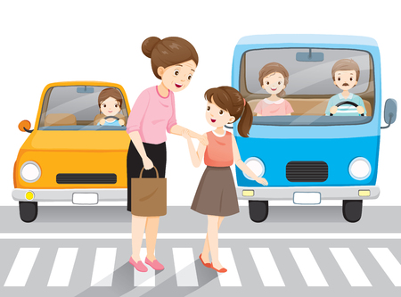 Young Girl Leading Old Woman Crossing The Street On Crosswalk. Cars Waiting Them, People, Lifestyle, Generation, Age Illustration