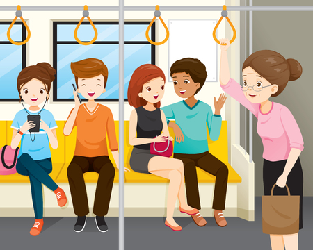 Old Women Standing In Electric Train. Young People Sitting But No One Standing Up For Her, People, Lifestyle, Generation, Age