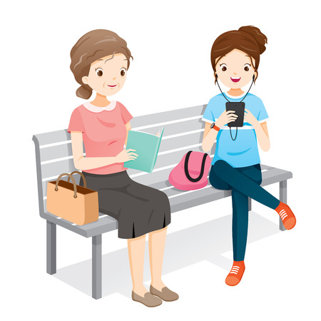 Old Woman Reading Book, Young Woman Playing Smartphones. They Sitting On Bench Together, People, Lifestyle, Generation, Age