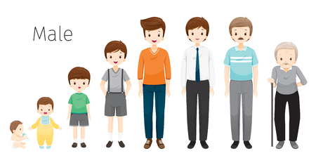 The Life Cycle Of Man. Generations And Stages Of Human Body Growth. Different Ages, Baby, Child, teenager, adult, Old Person, Age, People, Development, Lifestyle