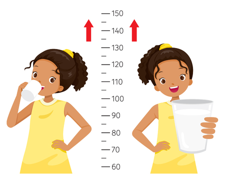 Dark Girl Drinking Milk For Health And Taller. Girl Measuring Her Height, Tall, Healthy, Care, People, Lifestyle Stock Illustratie