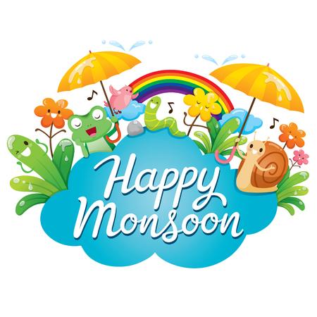 Banner Of Happy Monsoon With Cartoon Character, Animals And Nature, Rainy Day, Season, Raindrop, Animal, Natural, Soaked