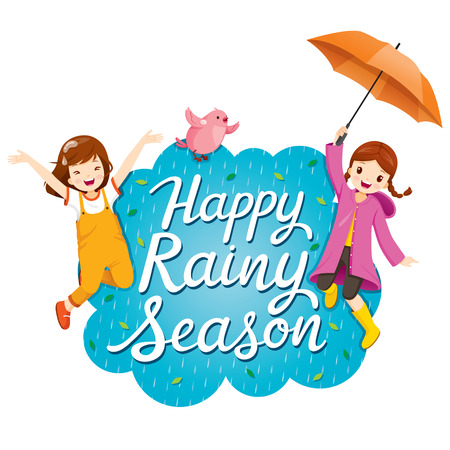 Banner Of Happy Rainy Season With Two Girls Jumping Playfully And Bird Flying Together, Monsoon, Raindrop, Animal, Natural, Soaked