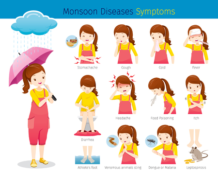 Girl With Monsoon Diseases Symptoms Set, Female, Body, Health, Care Illustration