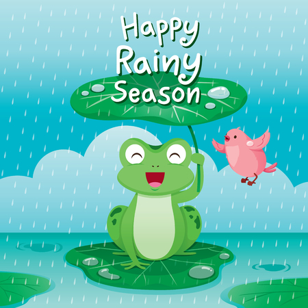 Grenouille sous la feuille de lotus pour se protéger sous la pluie, oiseau qui vole autour, mousson, jour de pluie, saison, goutte de pluie, animal, relation