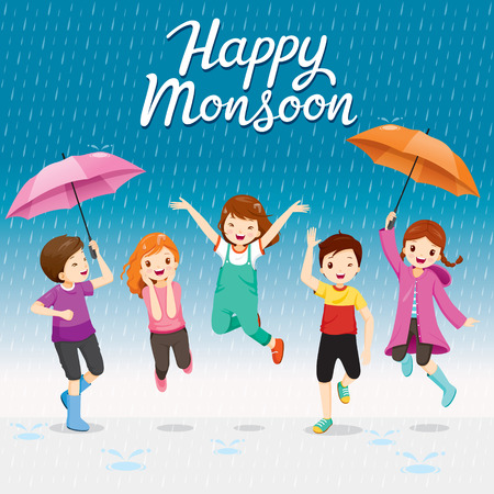 Five Children With Umbrella And Raincoat Jumping In The Rain Playfully, Monsoon, Rainy Day, Season, Raindrop, People, Relationship, Soaked Illustration