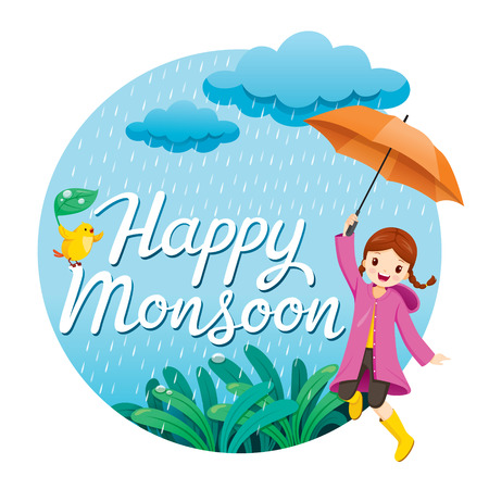 Girl With Umbrella And Raincoat Jumping In The Rain Playfully On Circle Frame, Monsoon, Rainy Day, Season, Raindrop, People, Relationship, Soaked