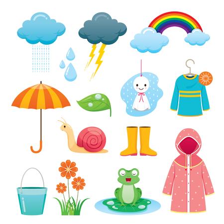 Rainy Season Icons Set, Monsoon, Nature, Animal, Flower, Clothing, Equipment
