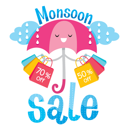 Monsoon Sale Banner With Umbrella, Lettering And Objects, Rainy Season, Raindrop, Objects Illustration