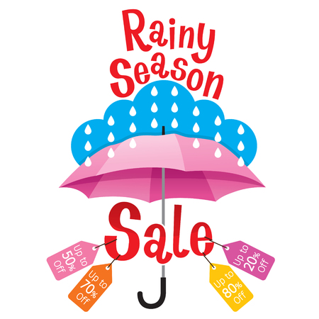 Rainy Season Sale Banner Decorate With Umbrella, Lettering And Objects, Monsoon, Raindrop, People, Objects