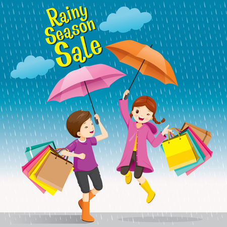 Rainy Season Sale, Boy And Girl Under Umbrella Jumping Playfully With Many Shopping Bags, Monsoon, Raindrop, People