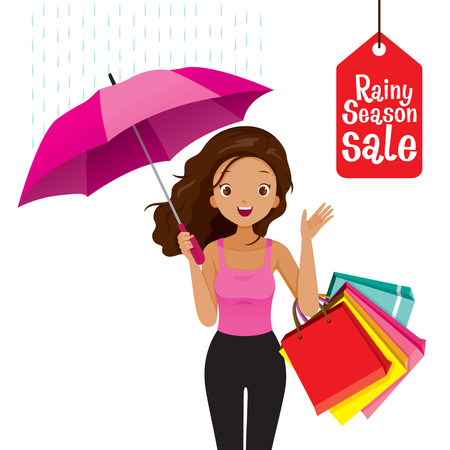 Rainy Season Sale, Dark Skin Woman Under Umbrella With Many Shopping Bags, Monsoon, Raindrop, People