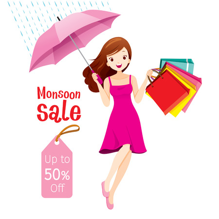 Monsoon Sale, Woman Under Umbrella Jumping With Many Shopping Bags, Rainy Season, Raindrop, People