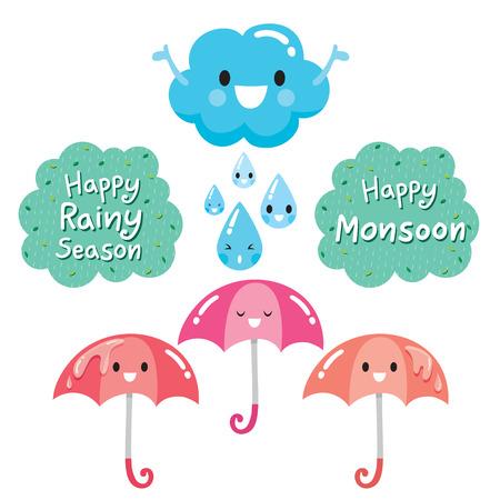 Cartoon Character Of Cloud, Umbrella And Raindrop, Monsoon, Rainy Day, Season Çizim