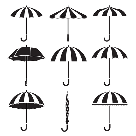 Umbrella Objects Icons Set, Monochrome, Rainy Season, Monsoon, Object