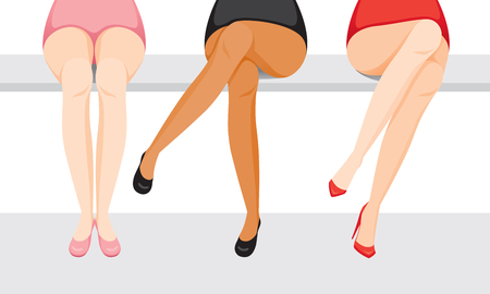 Women's Legs With Different Skin And Types Of Shoes, Sitting With One's Legs Crossed, Footwear, Fashion, Objects