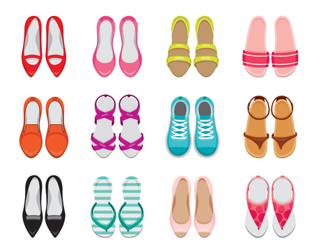 Set Of Different Types Of Women's Shoes Pair, Top View, Footwear, Fashion, Objects