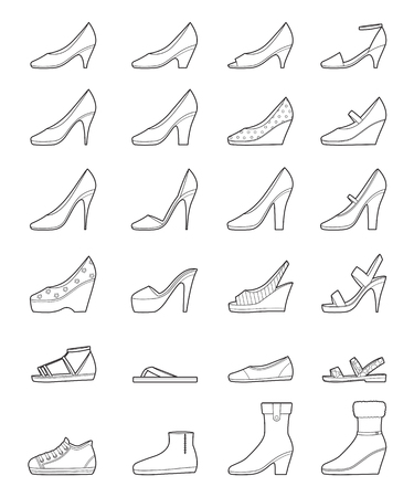 Set Of Different Types Of Women's Shoes, Outline, Side View, Footwear, Fashion, Objects Vettoriali
