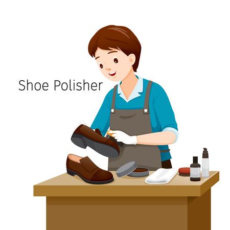 Shoe Polisher Polishing Man Shoes, Footwear, Fashion, Objects, Occupation, Profession, Working Illustration
