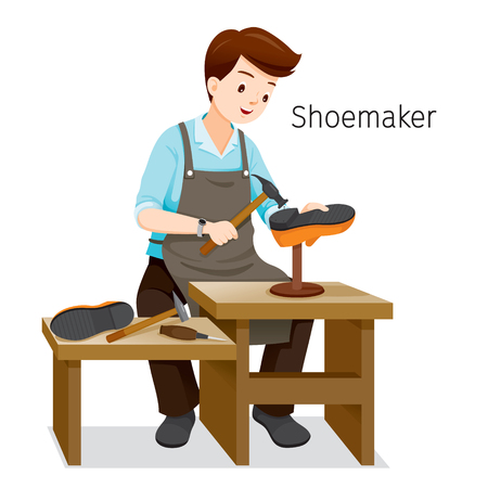 Shoemaker Repairing Man Shoes, He Hammering Nail On Shoe Heel, Footwear, Fashion, Objects, Occupation, Profession, Working Ilustracja