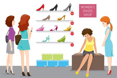 Tienda de zapatos de mujer con vendedora y clientes, calzado, moda, objetos, ocupación, profesión, trabajo