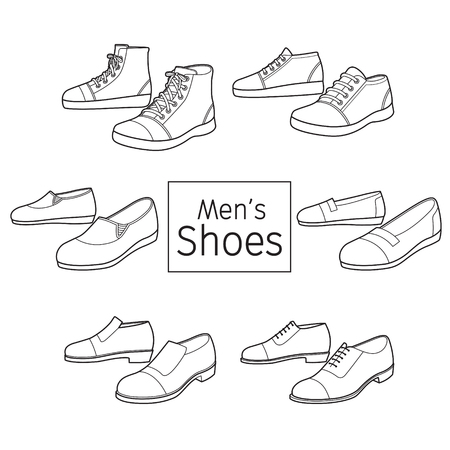 Collection Of Different Men's Shoes Pair, Outline, Footwear, Fashion, Objects