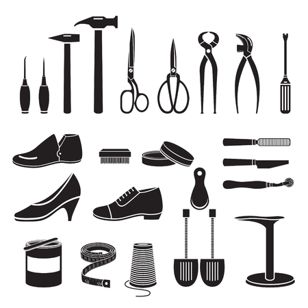 Set Of Shoes Repair Tool And Shoes Accessories, Monochrome, Footwear, Fashion, Objects