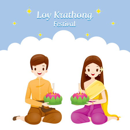 Loy Krathong Festival, Couple in National Costume Sitting, Celebration and Culture of Thailand, Asia, Feast, Season, Religion 向量圖像