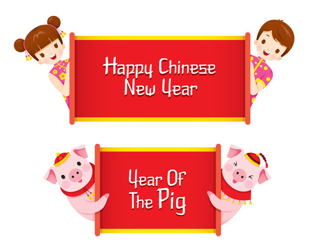 Children And Pigs With Banner Of Happy Chinese New Year And Year Of The Pig, Traditional, Celebration, China, Culture Ilustracja