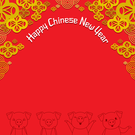 Red Frame Decoration With Flowers And Outline Of Pigs, Happy Chinese New Year, Year Of The Pig, Traditional, Celebration, China, Culture
