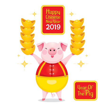 Pig Holding Gold In Hands, Happy Chinese New Year 2019, Year Of The Pig, Traditional, Celebration, China, Culture Stock Illustratie