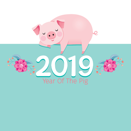 Year Of The Pig 2019 Texts With Pig Sleeping On Frame, Traditional, Celebration, China, Culture Stock Illustratie