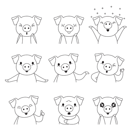 Pig Outline Emoticons Icons Set, Year Of The Pig, Food, Piglet, Imoji