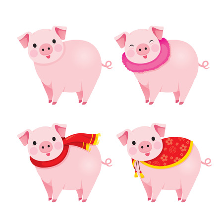 Set Of Pigs With Clothing, Year Of The Pig, Traditional, Celebration, China, Culture